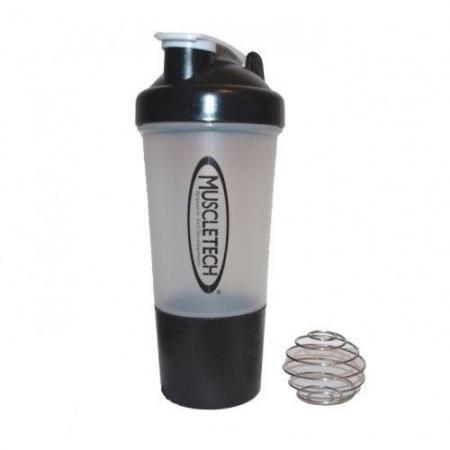 Muscletech с пружинкой + контейнер, 500 мл - прозрачный